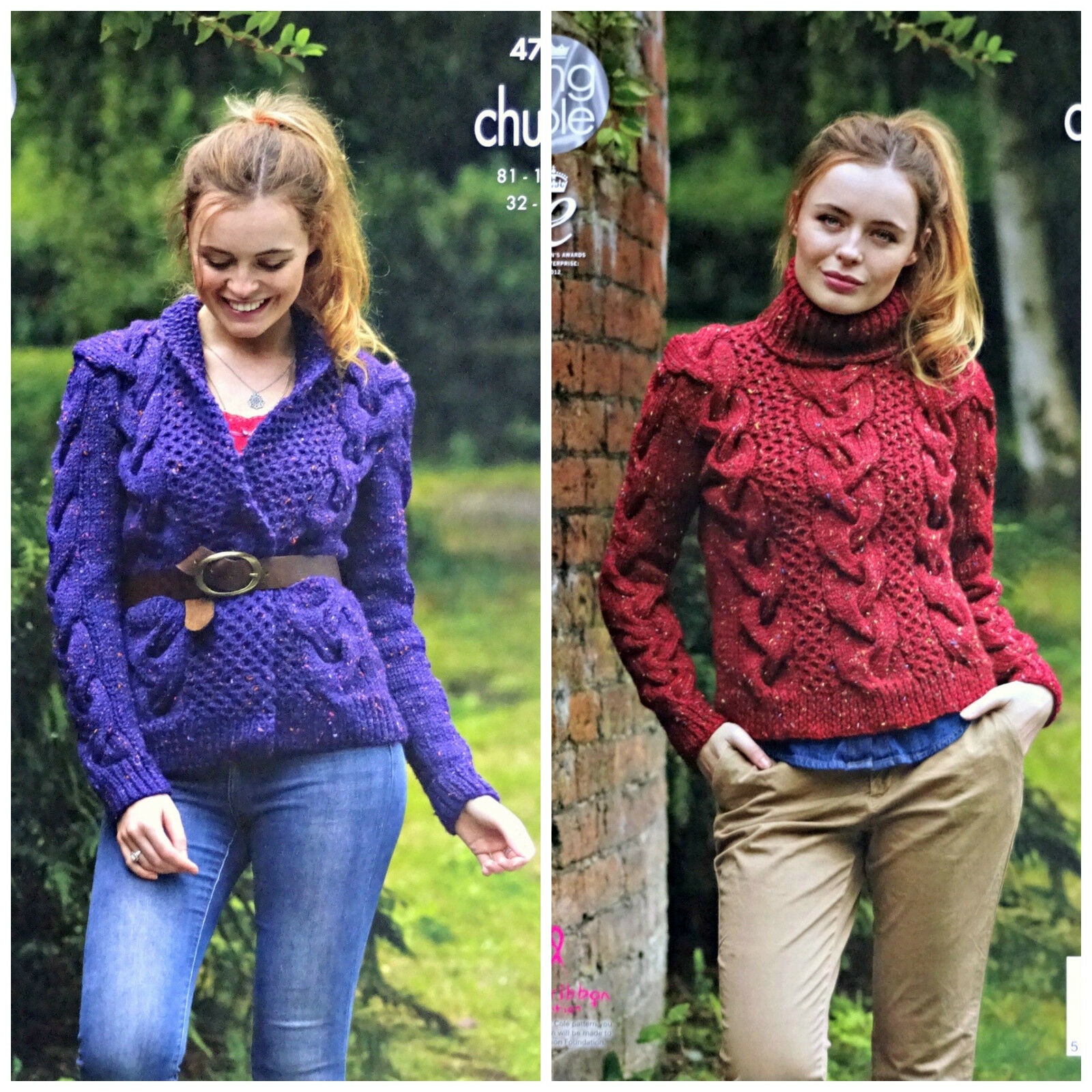 Knitting Patterns For Larger Ladies : KNITTING PATTERN Ladies Large Cable Jacket & Jumper Chunky 4744 King Cole...