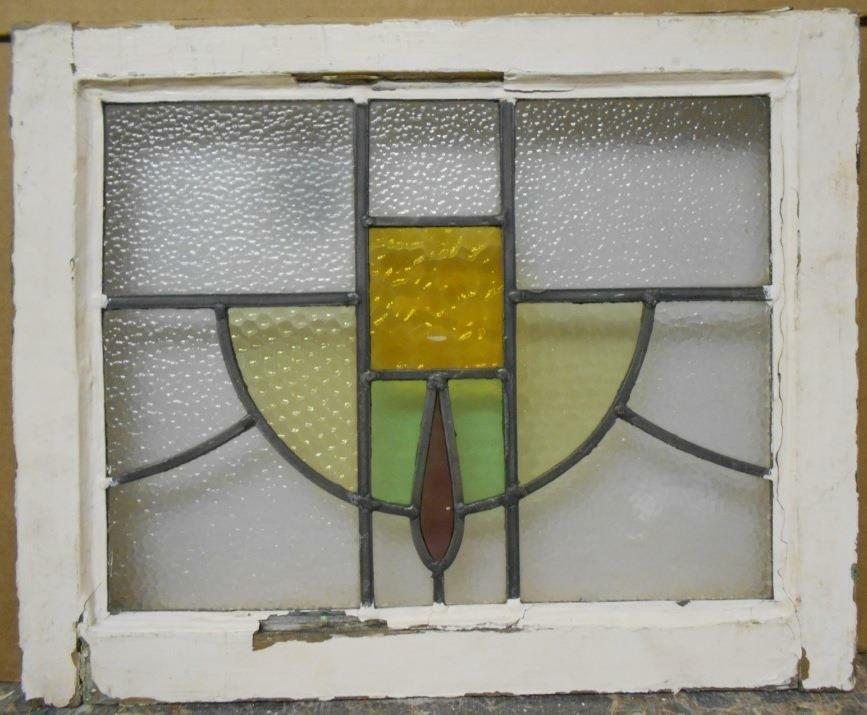 """OLD ENGLISH LEADED STAINED GLASS WINDOW Abstract Swoop 20.5"""" x 16.75"""""""