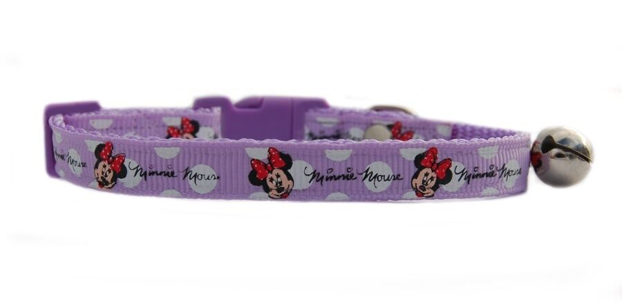 "Gorgeous Lilac purple  Minnie Mouse "" safety kitten cat collar 3 sizes"
