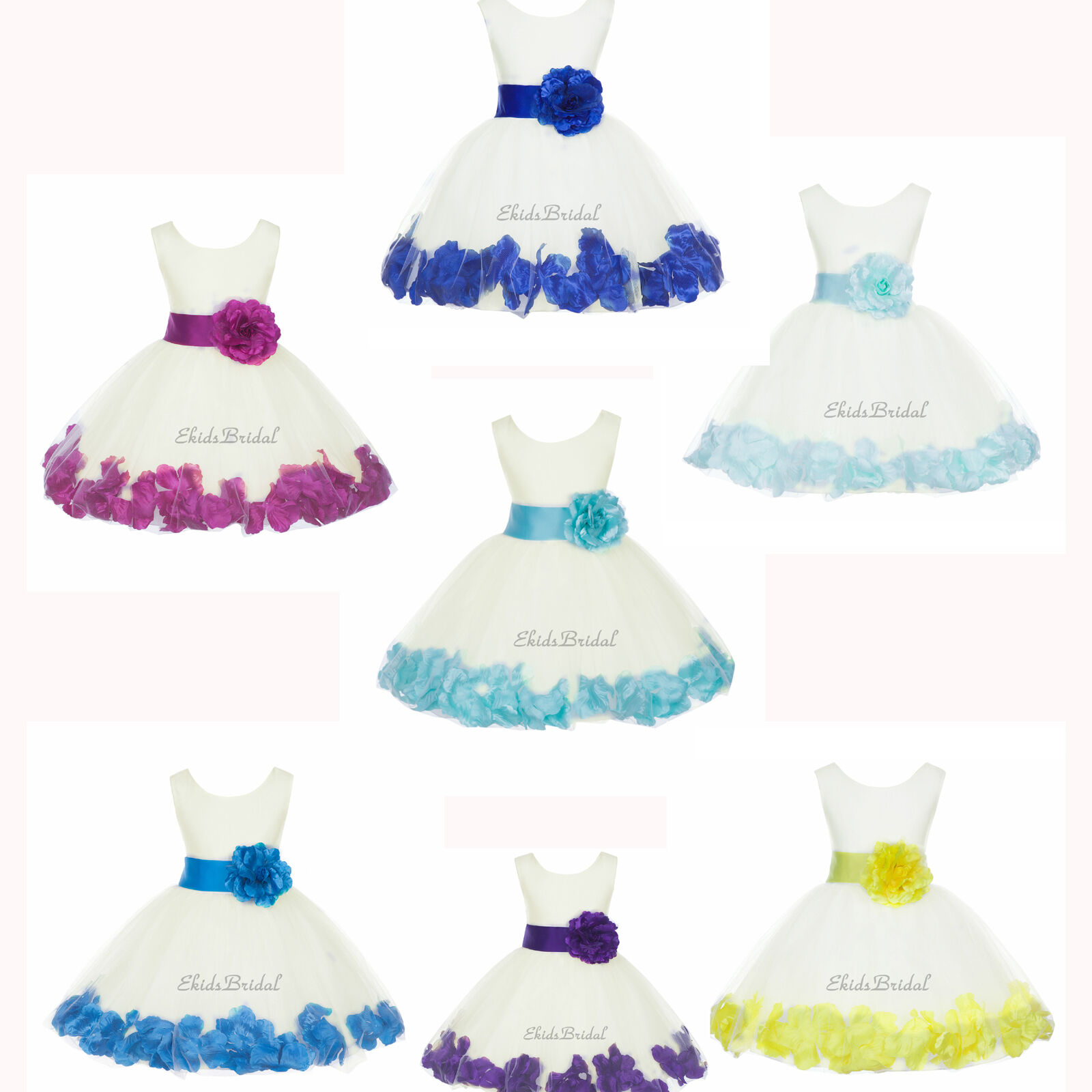 Ivory Flower Girl Dress Rose Petal Purple Pink Black Blue Green
