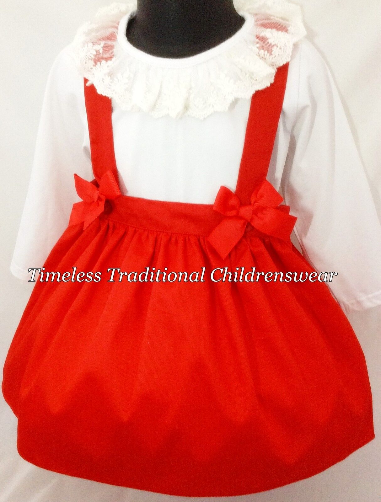 Christmas Red Spanish Lace Collar Top & Skirt With Braces Outfit Set 2,3,4,5,6,7