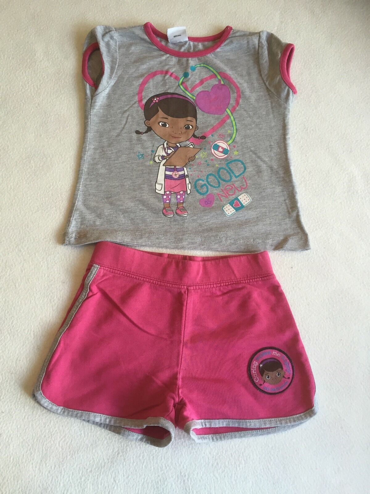 Girls Clothes 2-3 Years - Cute Doc McStuffins T Shirt Top & Shorts Outfit