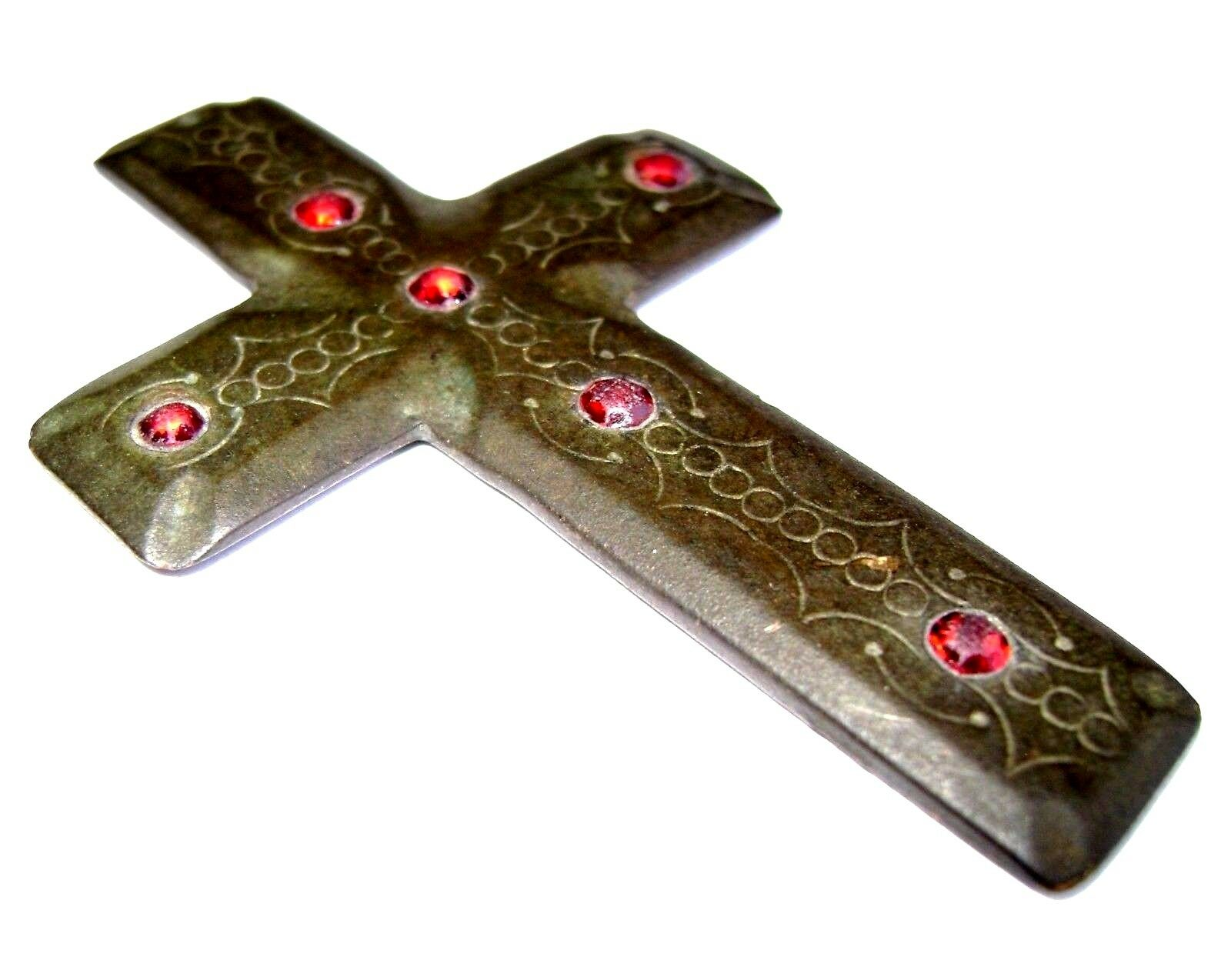 Ancient RARE Post Medieval Bronze Pendant Cross with 6 small red Stones