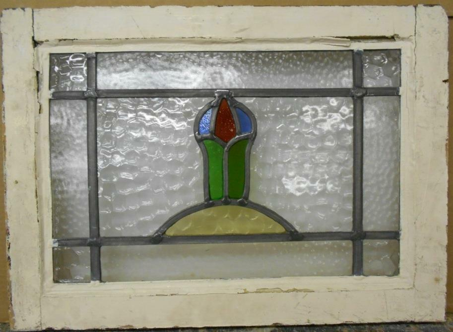 """OLD ENGLISH LEADED STAINED GLASS WINDOW Pretty Floral 20.25"""" x 14.75"""""""
