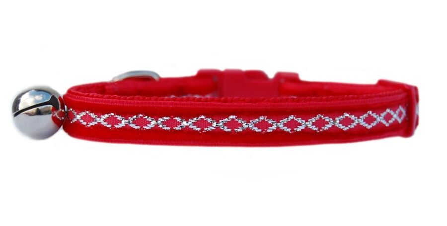 "Santa Red silver diamond middle   velvet "" safety kitten cat collar 3 sizes"