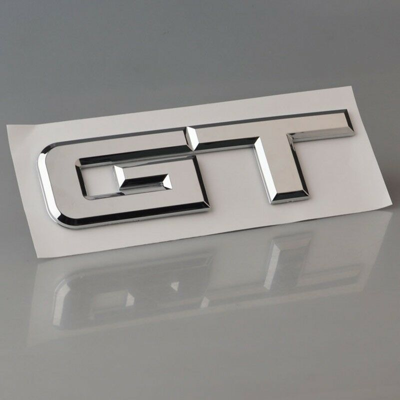 3d Chrome Gt Symbol Abs Car Rear Emblem Stickers For New Mustang