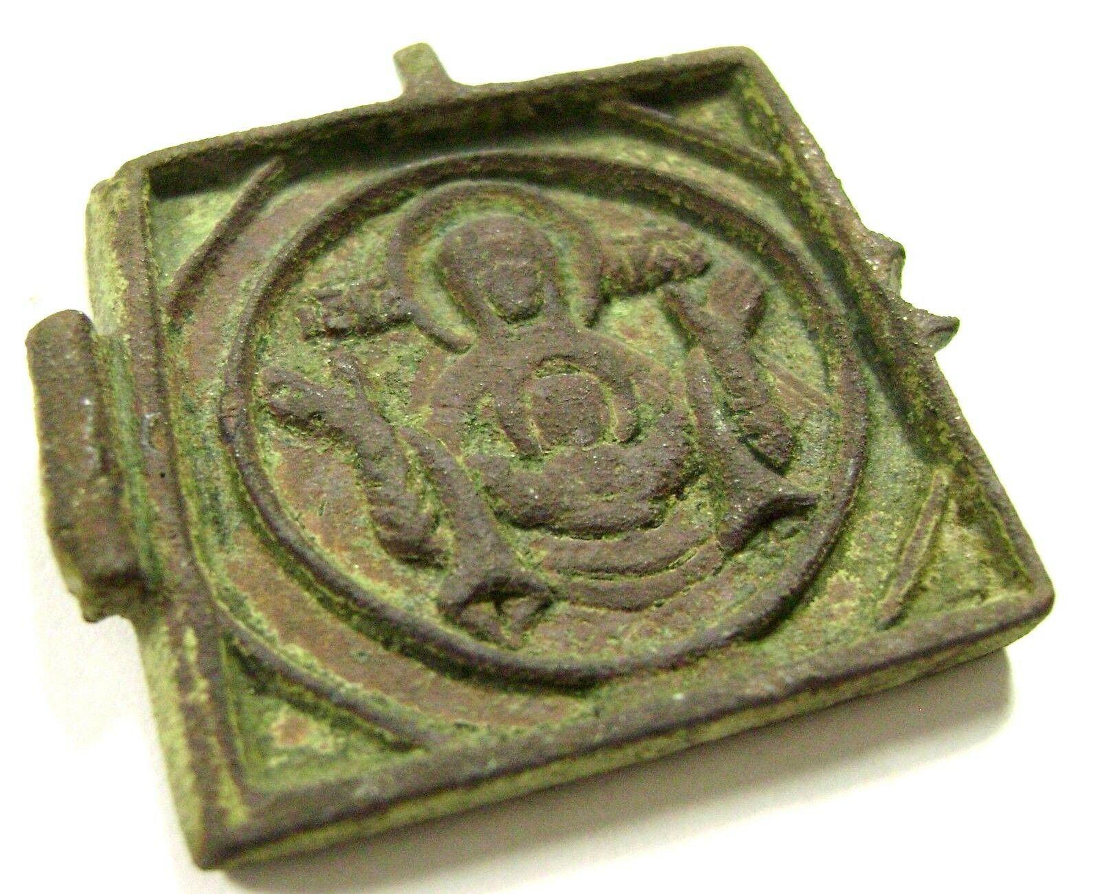 Ancient beautiful Madieval bronze small icon Depicting saint. #003