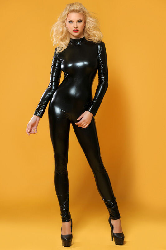 CATSUIT OVERALL WETLOOK Clubwear Party GOGO SCHWARZ S M 36 38 NEU