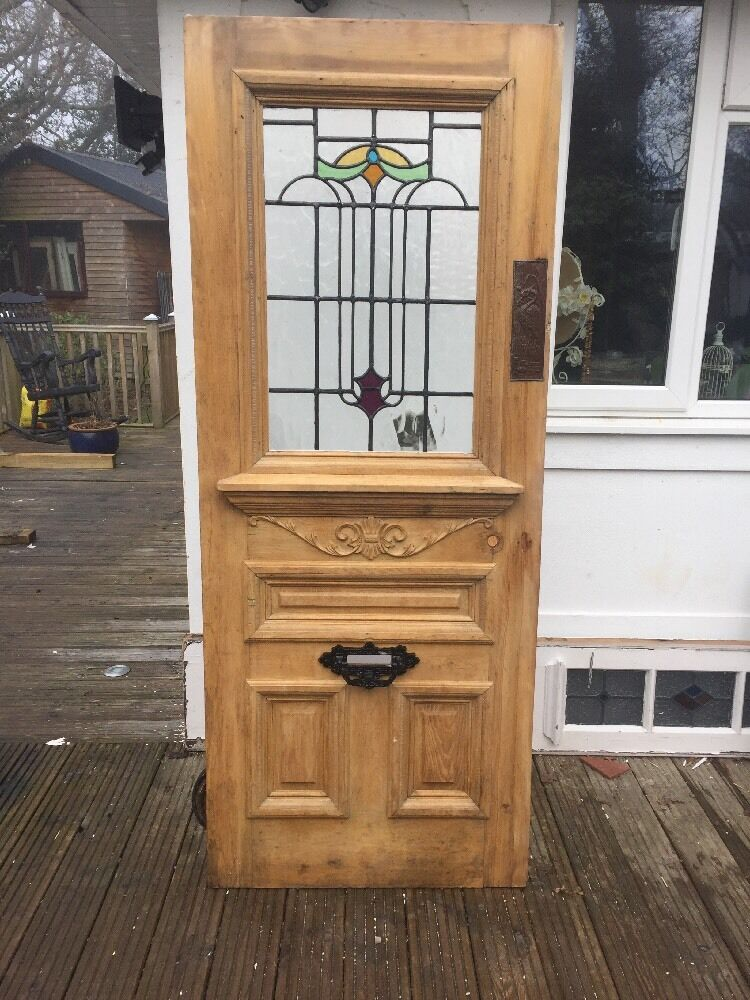 Victorian Stained Glass Front Door Wood Solid Pine Reclaimed Timber Old Antique