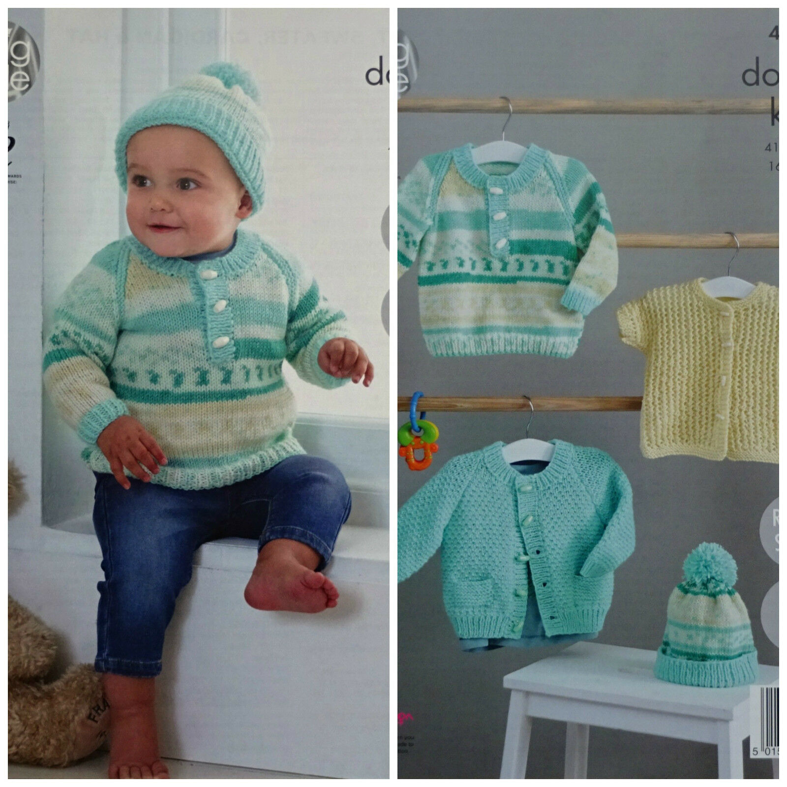 Knitting Pattern For Newborn Jumper : KNITTING PATTERN Baby Easy Knit Jumper, Cardigan, Jacket & Hat King Cole ...