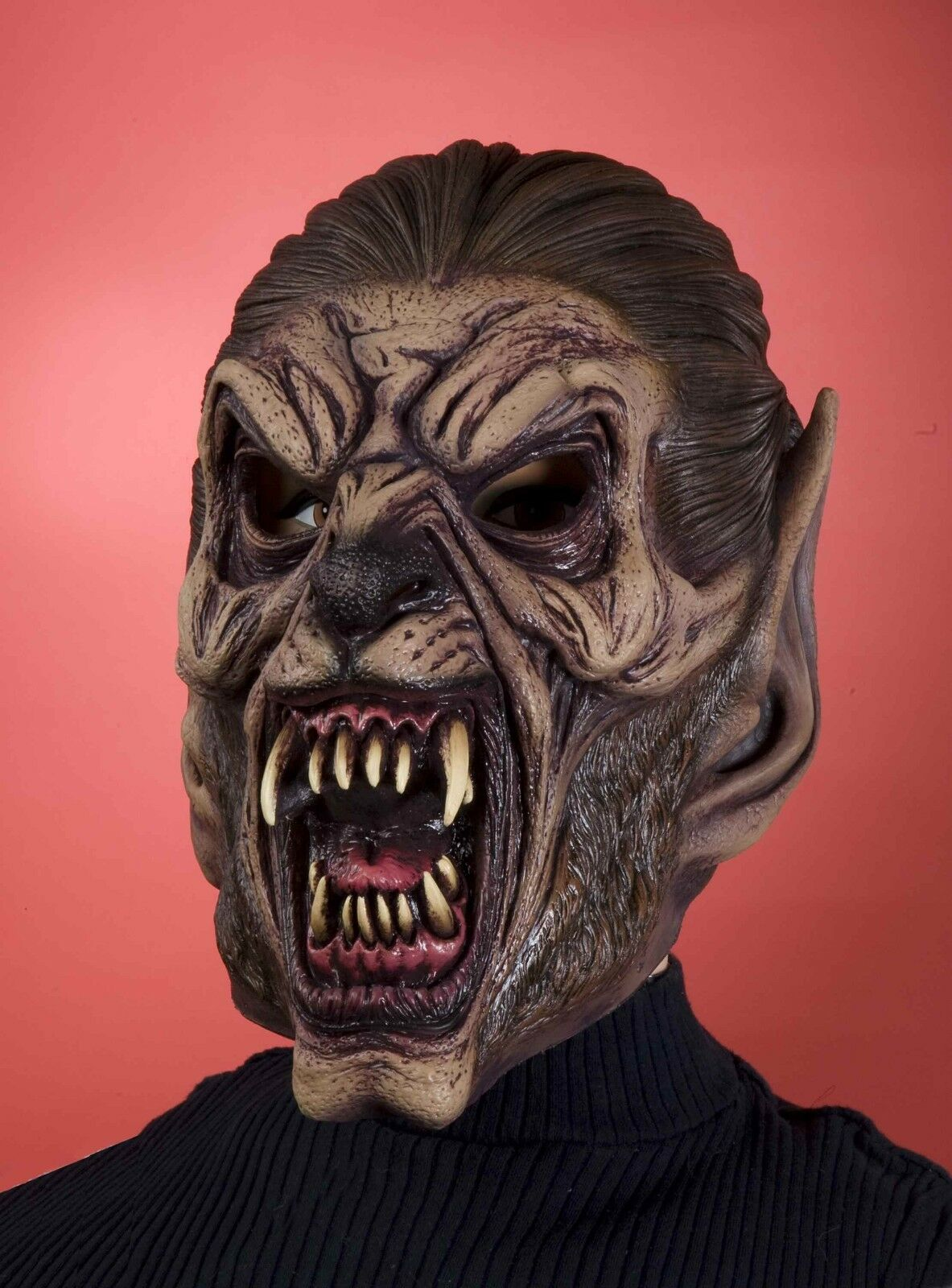 latex werewolf mask mens adult vinyl halloween face were wolf costume brown new 1 of 1only 1 available