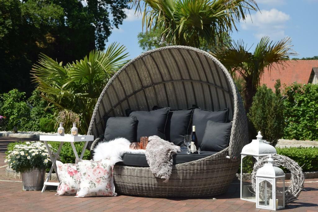 exclusive poly rattan sonneninsel rattan rattan dach grau eur 998 00 picclick de. Black Bedroom Furniture Sets. Home Design Ideas