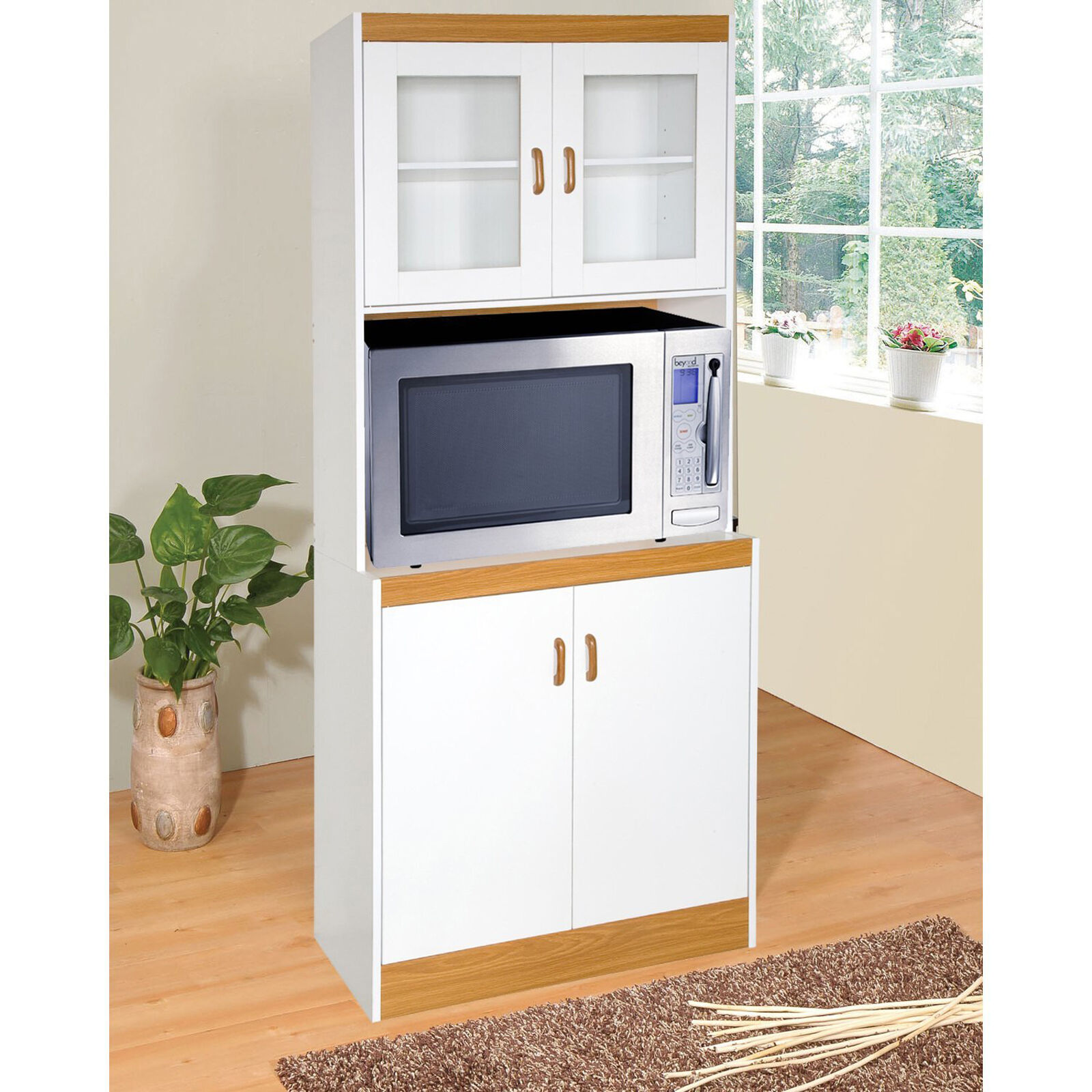 Tall Microwave Cart White Kitchen Stand Freestanding Storage Cabinet Glass Doors