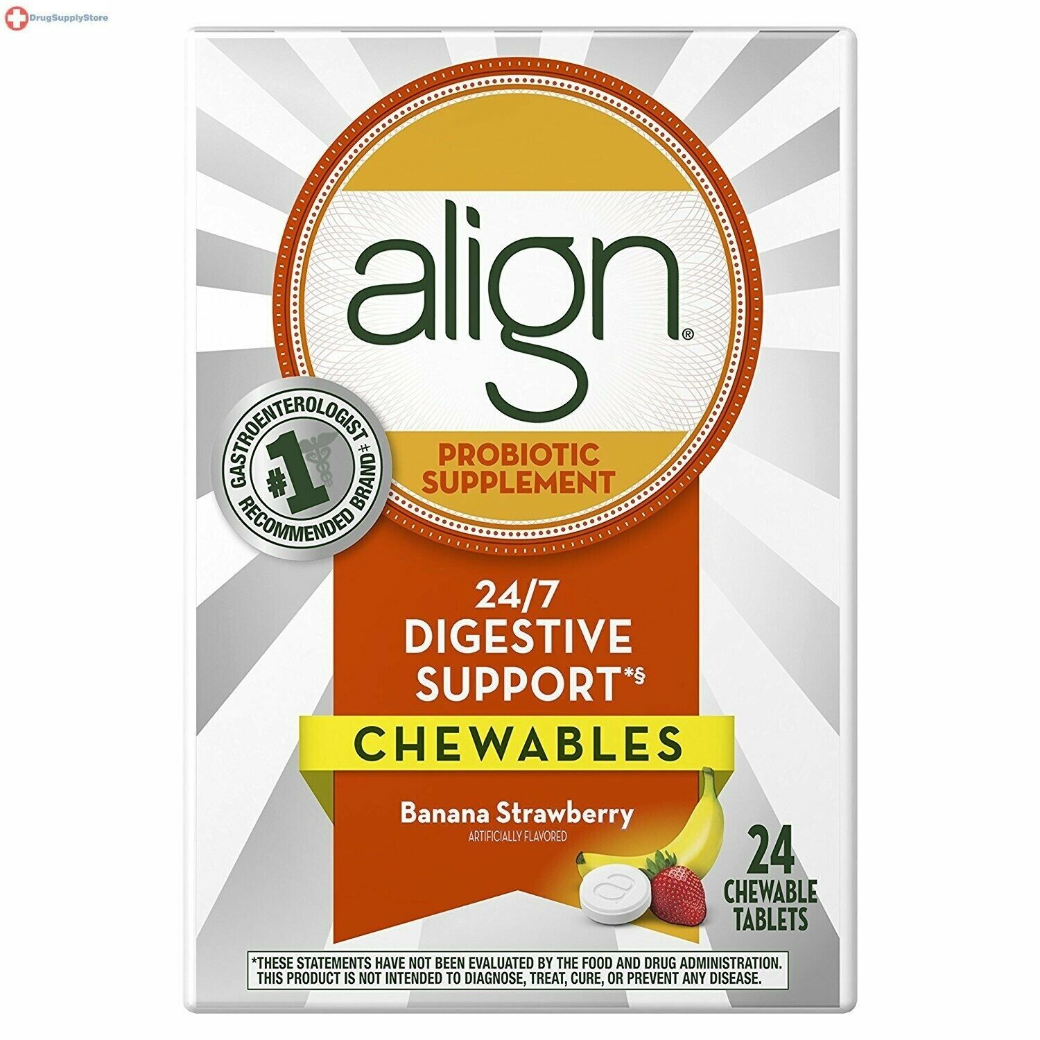Align Probiotic Supplement Banana Strawberry Flavored Chewable