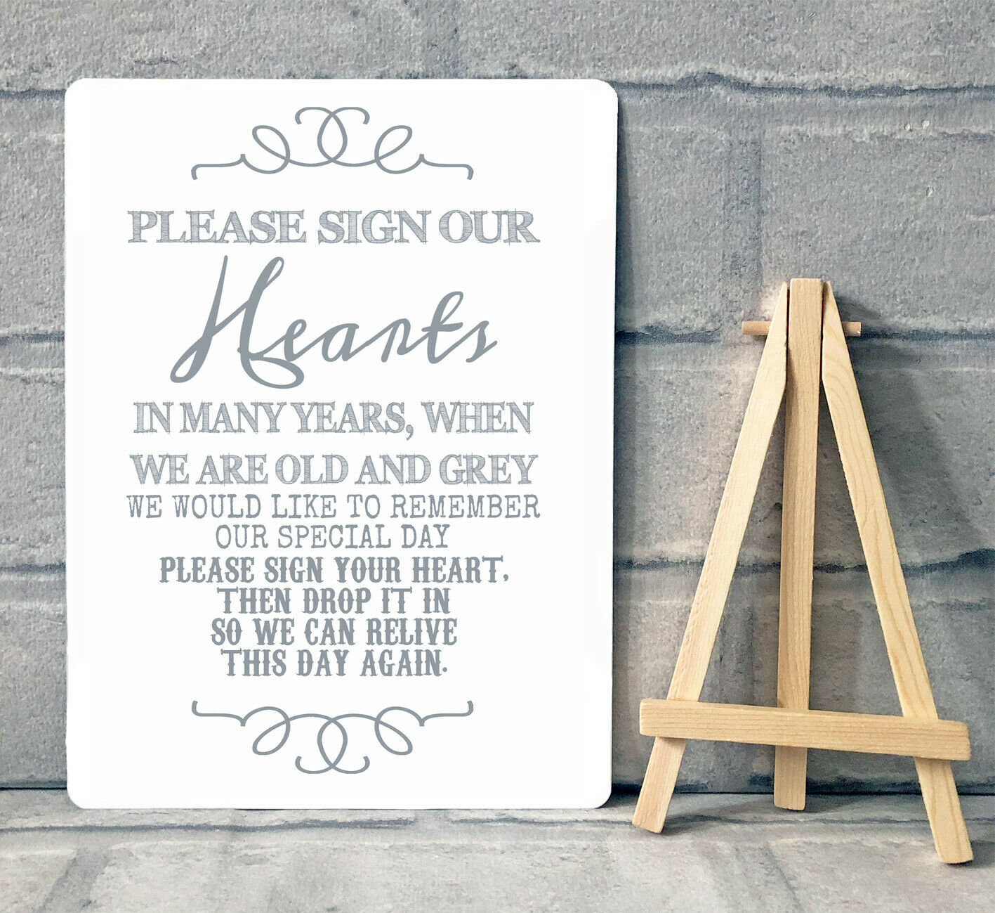 A5 METAL HEARTS Drop Box Frame Wedding Guest Book Table Sign With ...