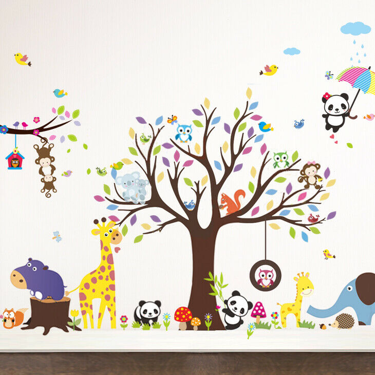 wandtattoo wandsticker aufkleber tiere kinderzimmer sticker baby baum xxl w1459 eur 1 05. Black Bedroom Furniture Sets. Home Design Ideas