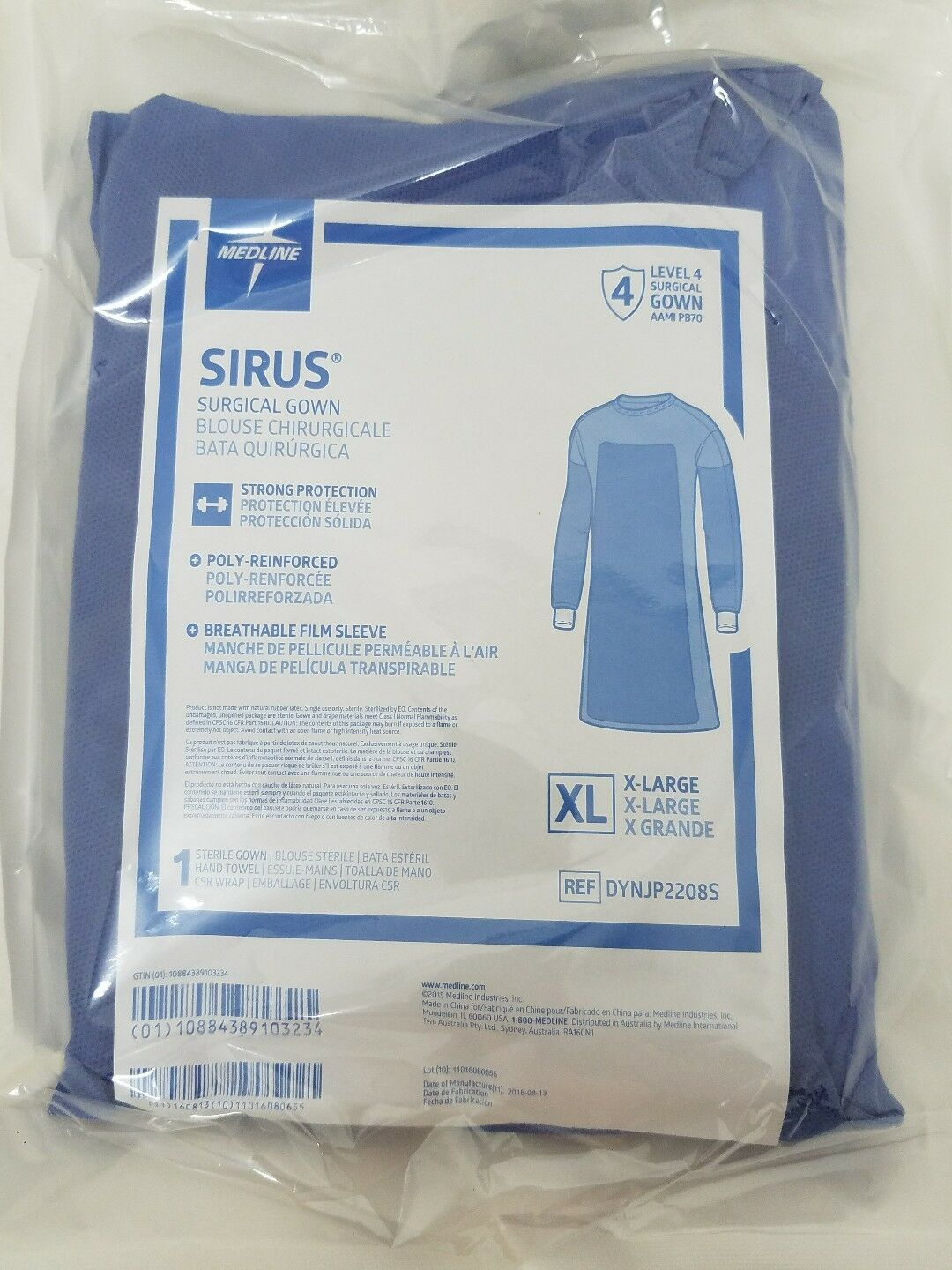 6 MEDLINE SIRUS Surgical Gown XLDYNJP2228S Sterile Poly-Reinforced ...