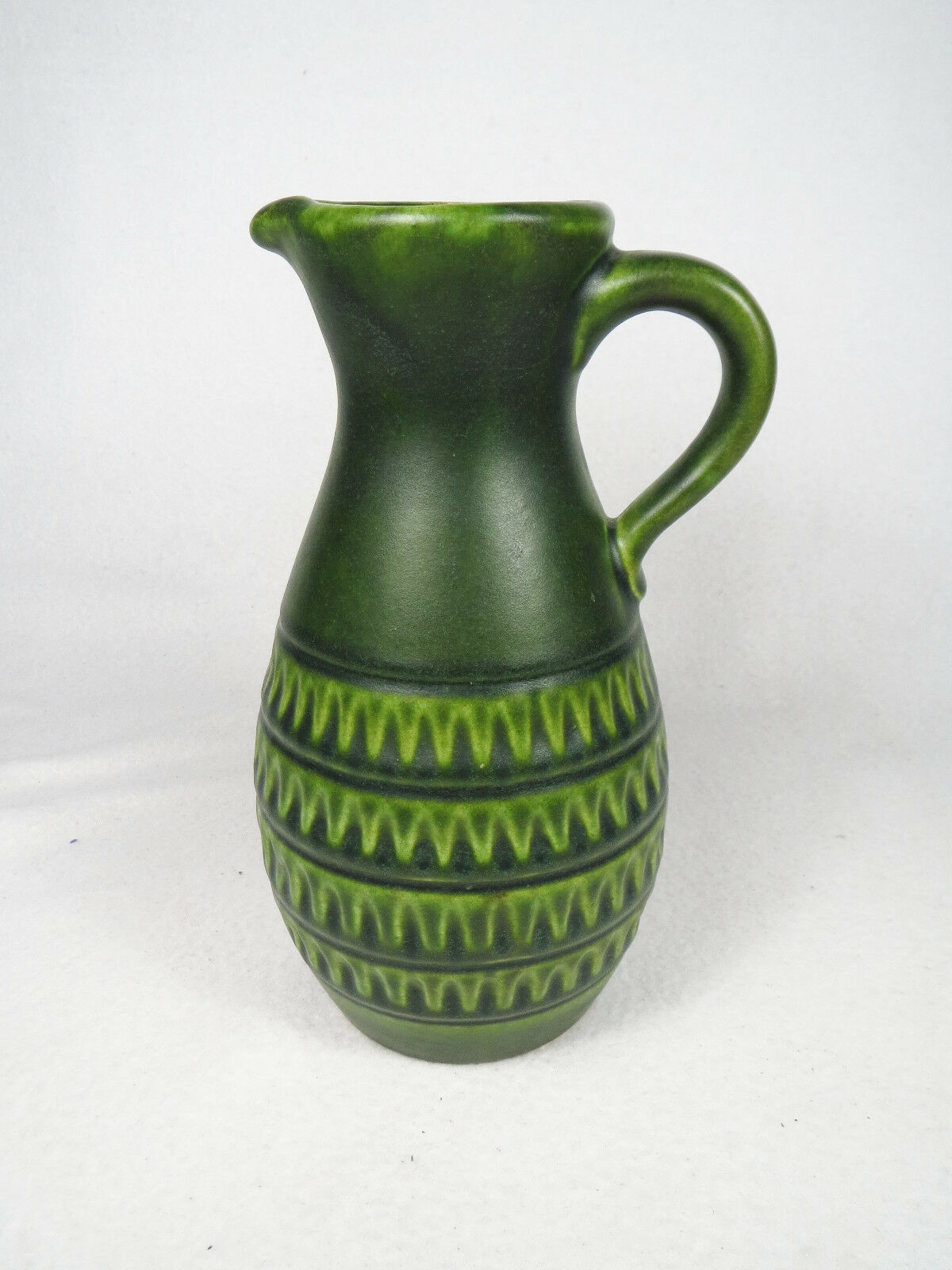 vintage jasba keramik 8 tall vase pitcher jug west german pottery 60s 70s green cad. Black Bedroom Furniture Sets. Home Design Ideas
