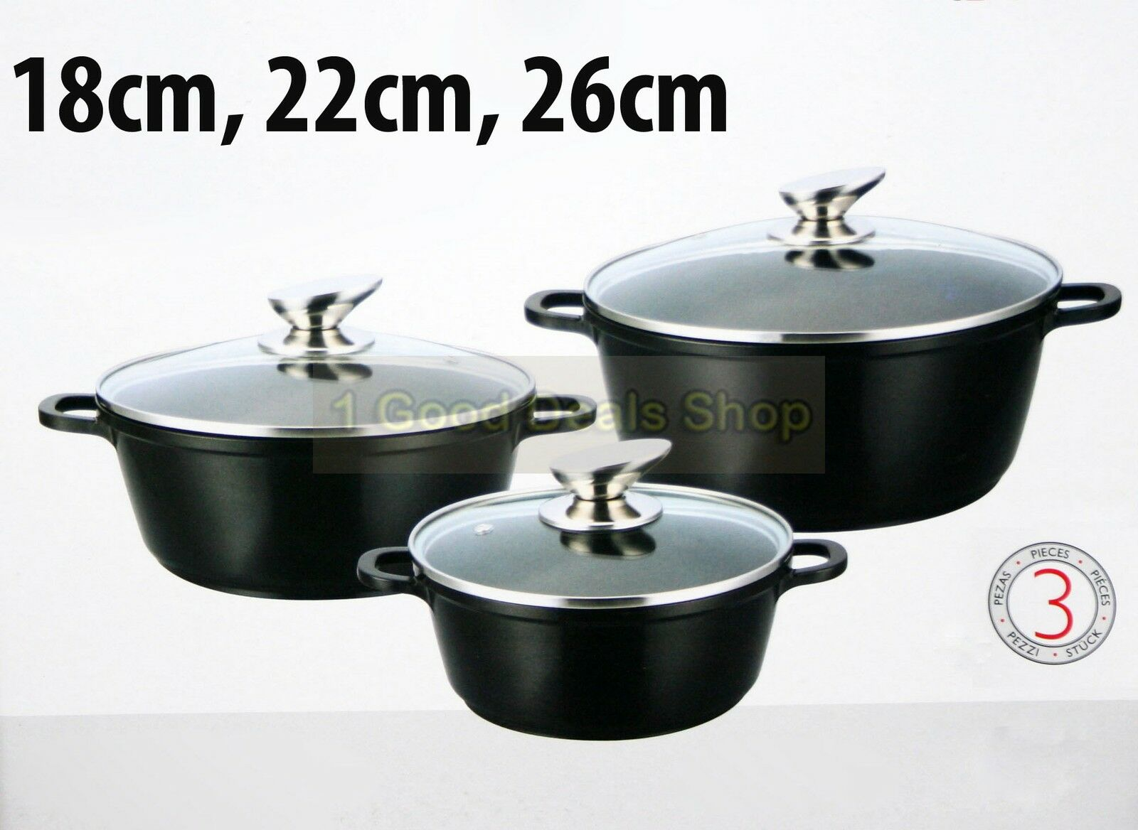 3pc induction non stick casserole pot cooking set pan stockpot hob 18 26cm black. Black Bedroom Furniture Sets. Home Design Ideas