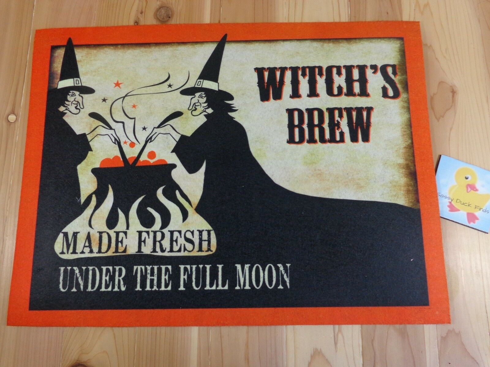 halloween door mat witch's brew made fresh full moon 18x24 orange