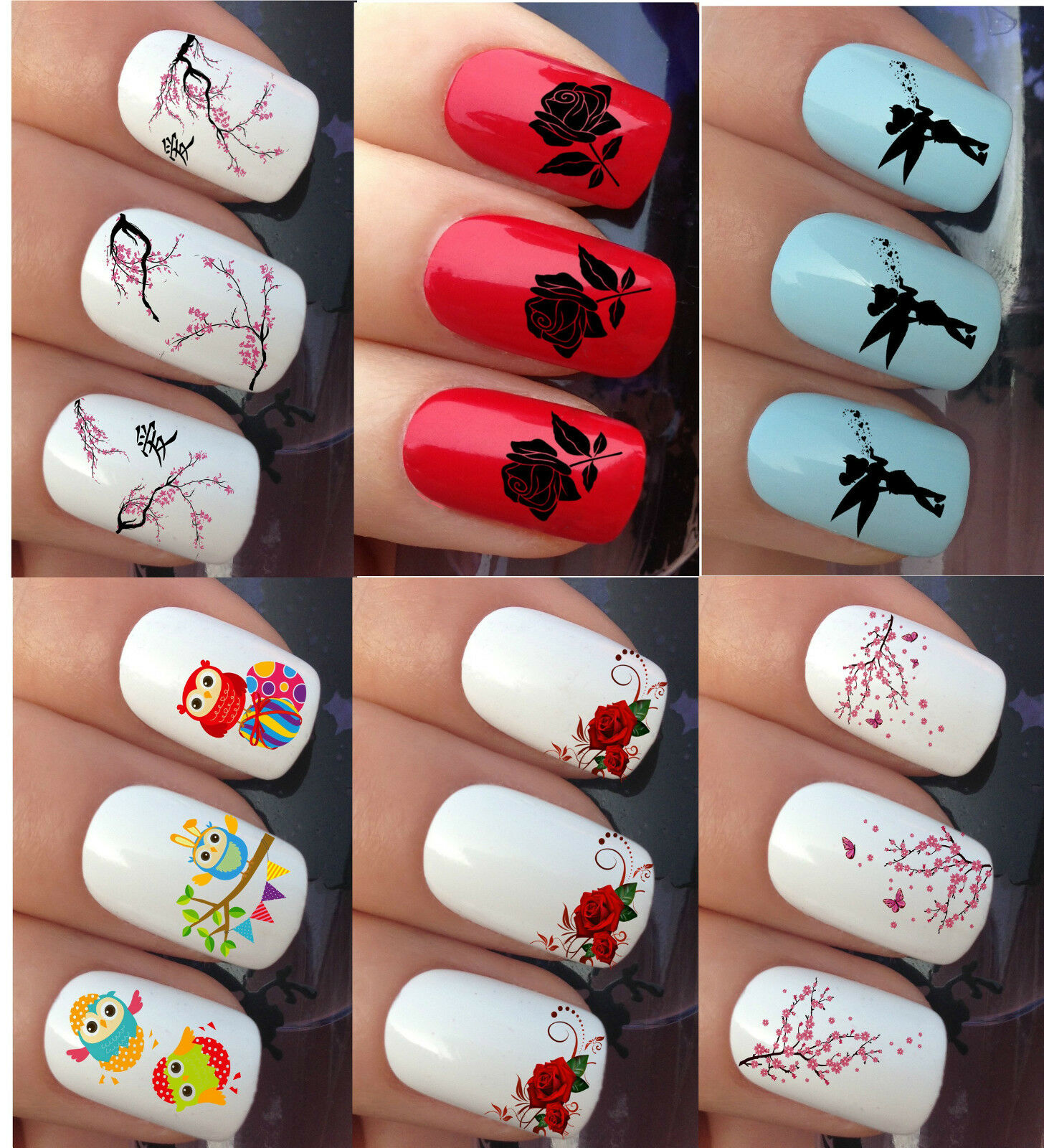 Nail Art Water Stickers Transfers Decals Wraps Flower Owl Tinkerbell