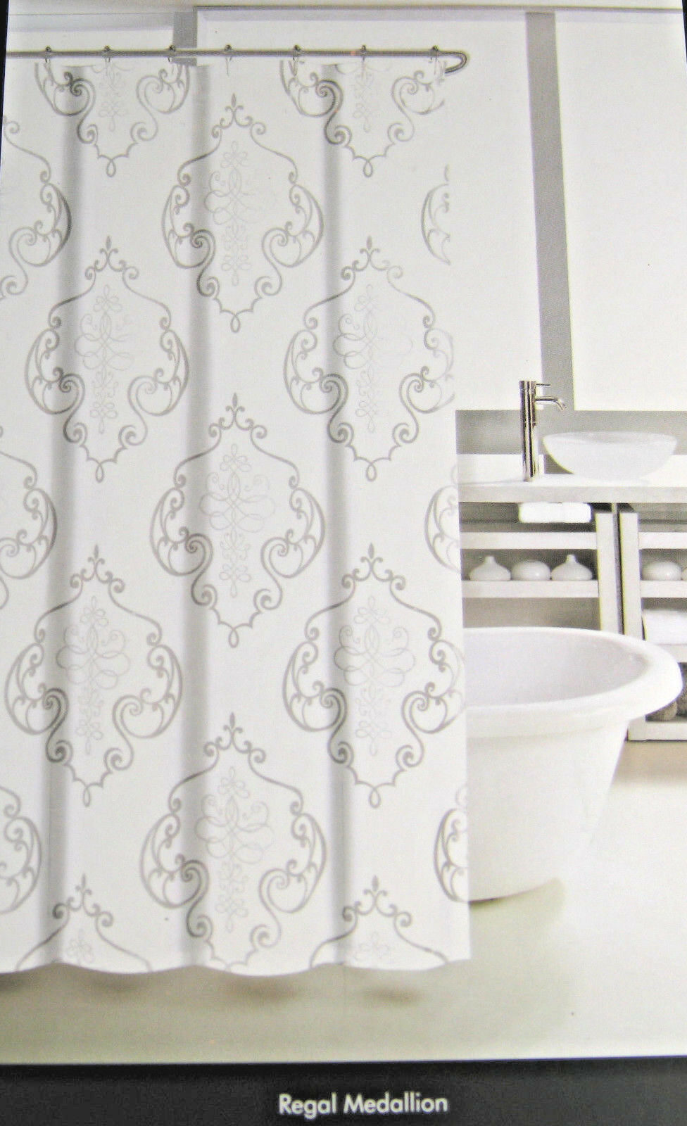 Tahari Fabric Shower Curtain Regal Medallion White/Gray/Silver 72 X 72 1 Of  2Only 1 Available ...