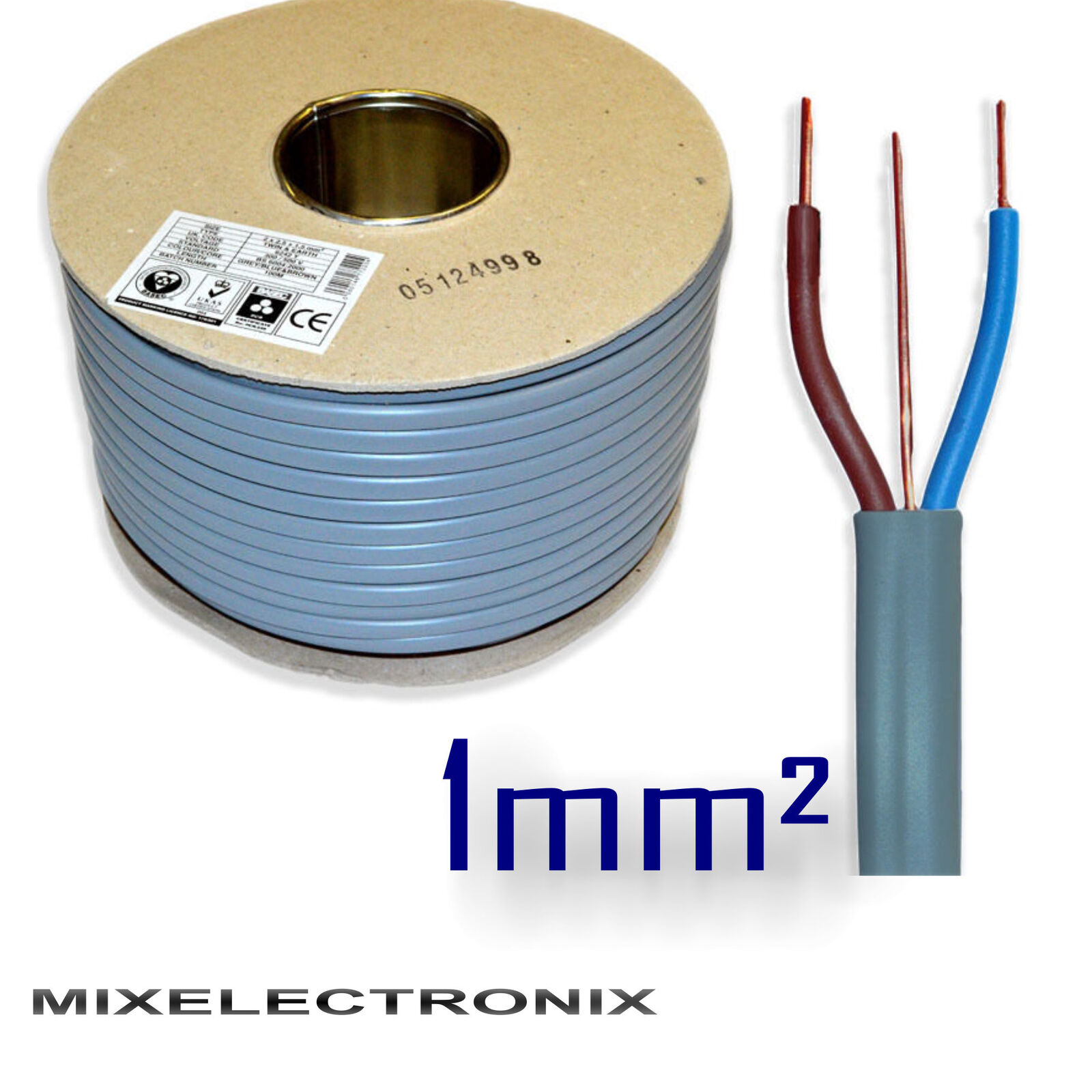 6242Y 3 CORE 1mm sq Grey Twin and Earth T E Wire BASEC Certified ...