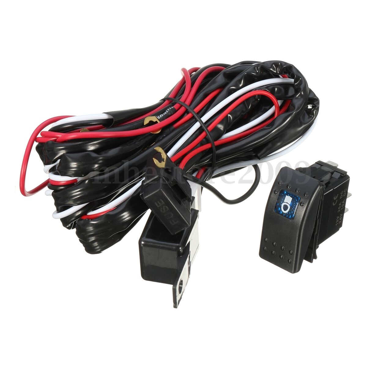 12v Wiring Harness Kit With Led High Beam Laser Rocker Switch Relay 24v Light Loom 40a For 2 1 Of 11only Available