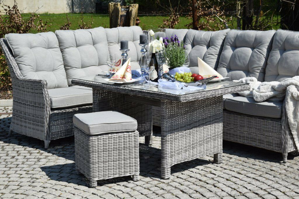 sitzgruppe esstisch sitzgruppe polyrattan grau ecksitzgruppe garten lounge eur. Black Bedroom Furniture Sets. Home Design Ideas