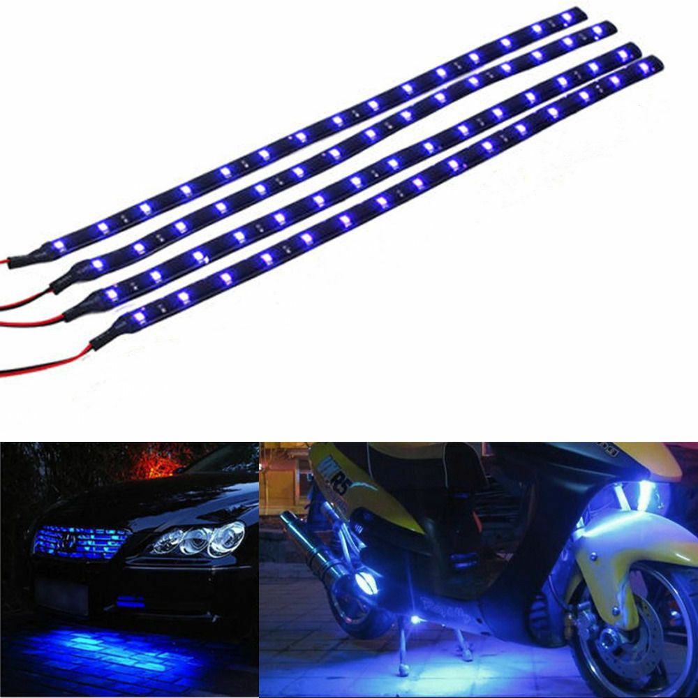 12v 4pcs 30cm 15 Led Auto Motors Motorcycle Flexible Strip