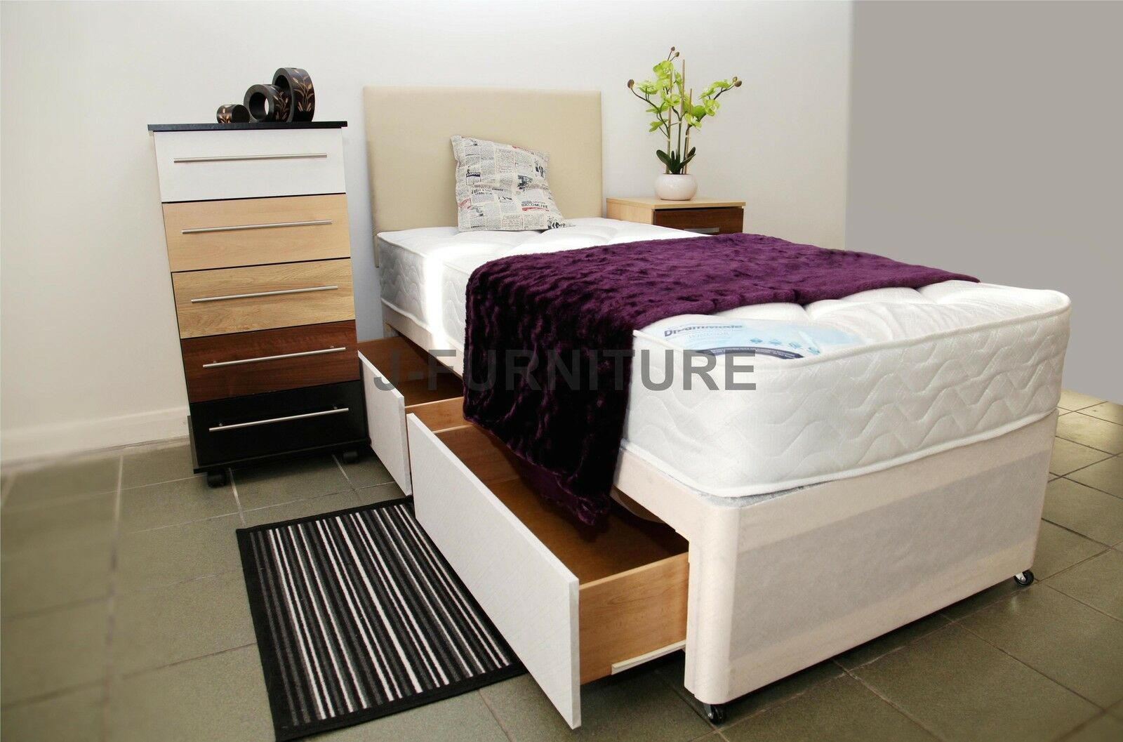 3ft Standard Single Divan Bed With 2 Drawers Deep Quilt Mattress Picclick Uk