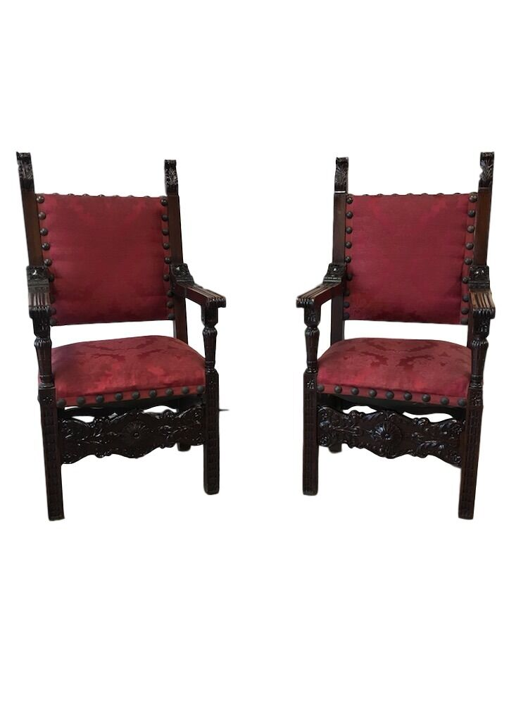 Pair of Italian Renaissance Revival Carved Armchairs Antique Chairs 1 of  11Only 1 available ... - PAIR OF ITALIAN Renaissance Revival Carved Armchairs Antique Chairs