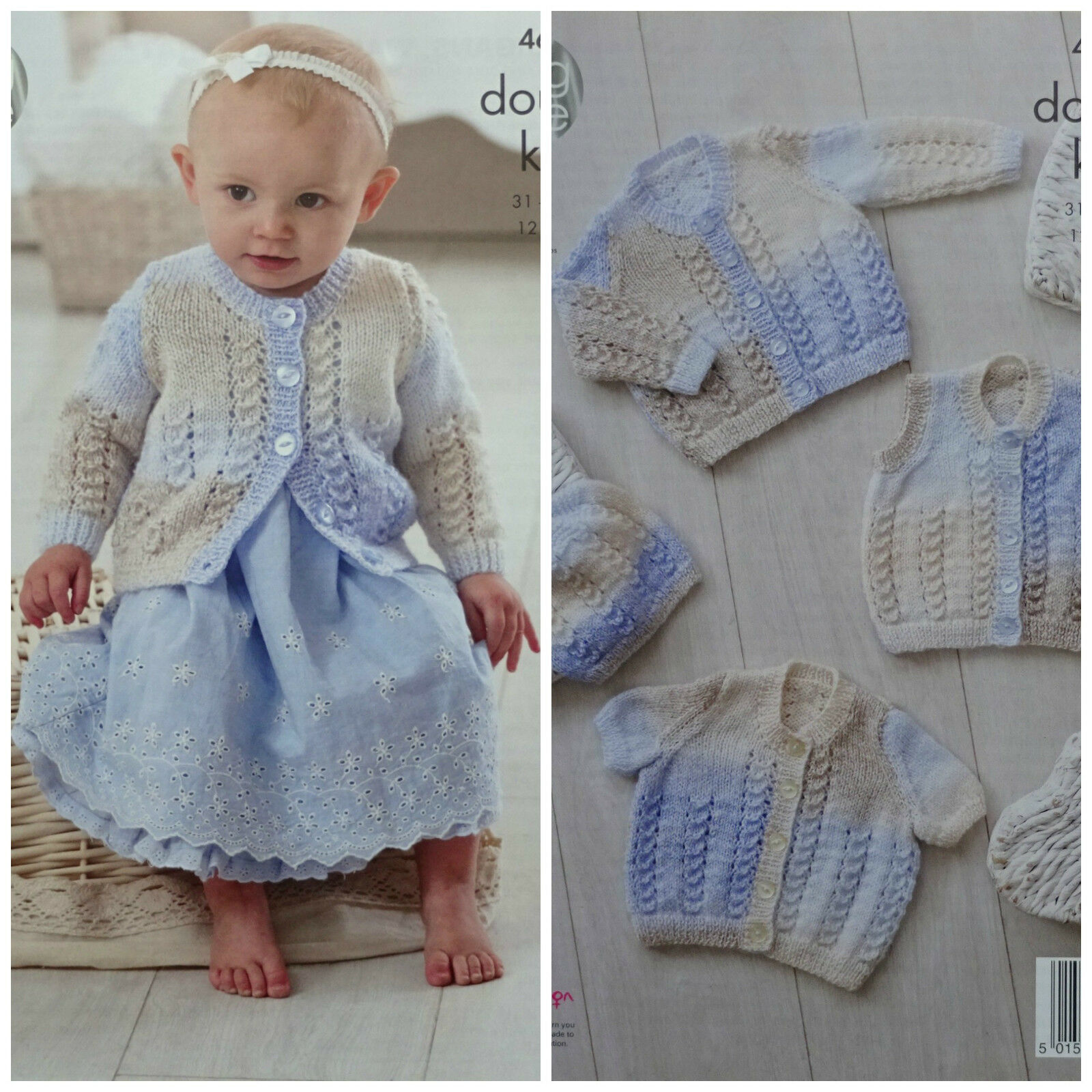 Knitting Patterns For Babies Waistcoats : KNITTING PATTERN Baby Lace Cardigans Waistcoat & Hat DK King Cole 4675   ...