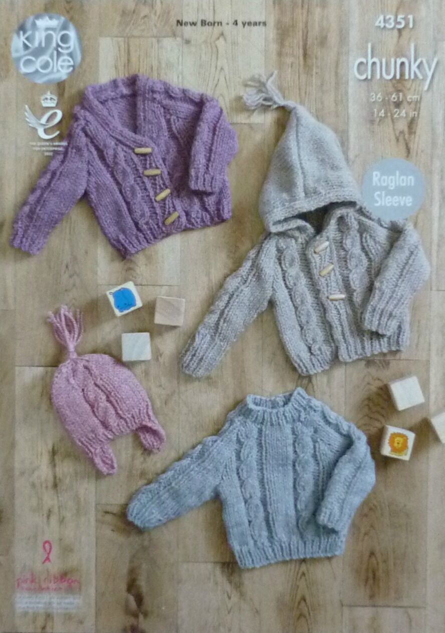 KNITTING PATTERN Baby Cable Cardigan, Hoodie, Jumper & Hat Chunky KC 4351...