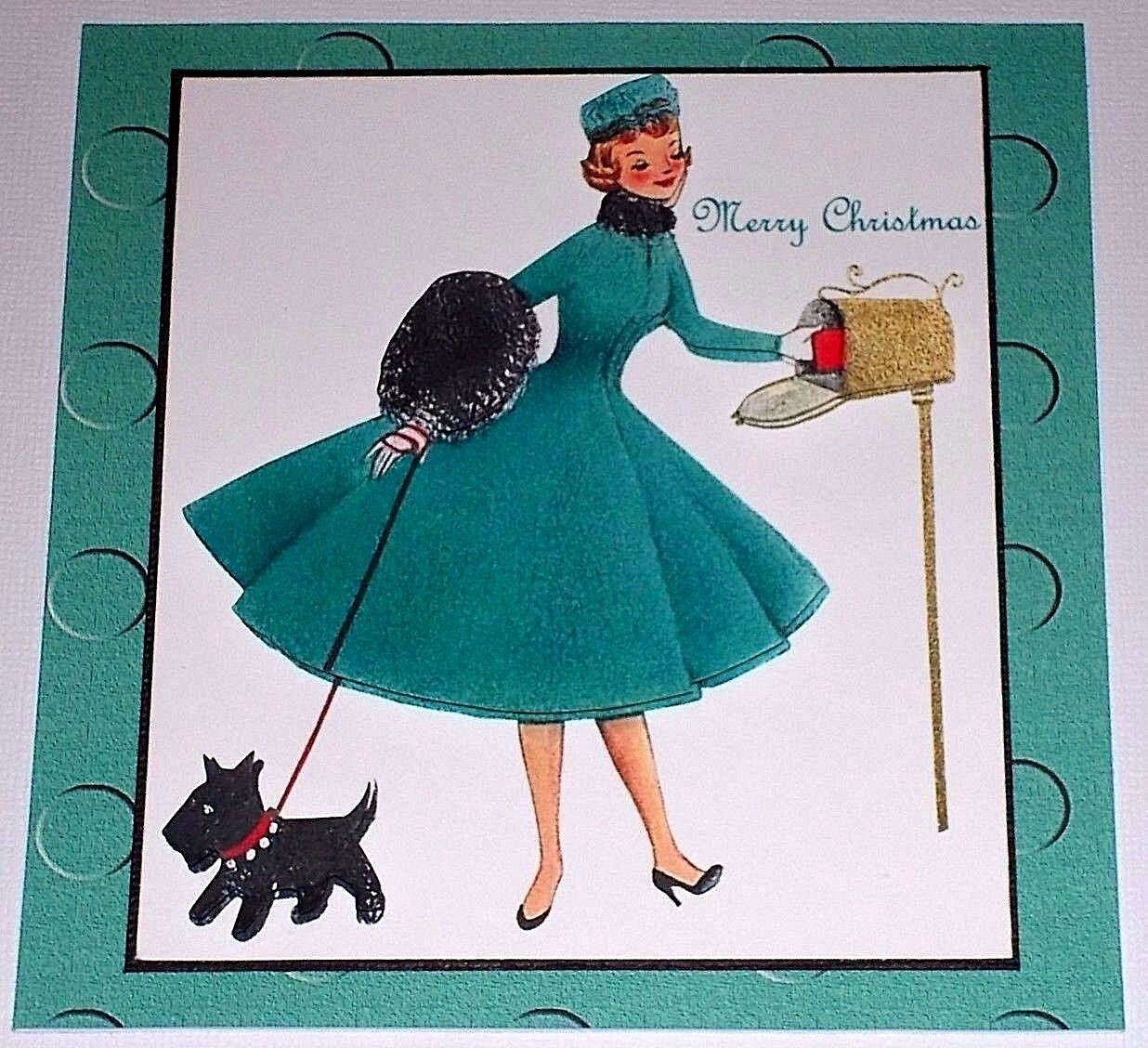 HANDMADE GREETING CARD 3D Christmas Retro Style With A Lady Mailing ...