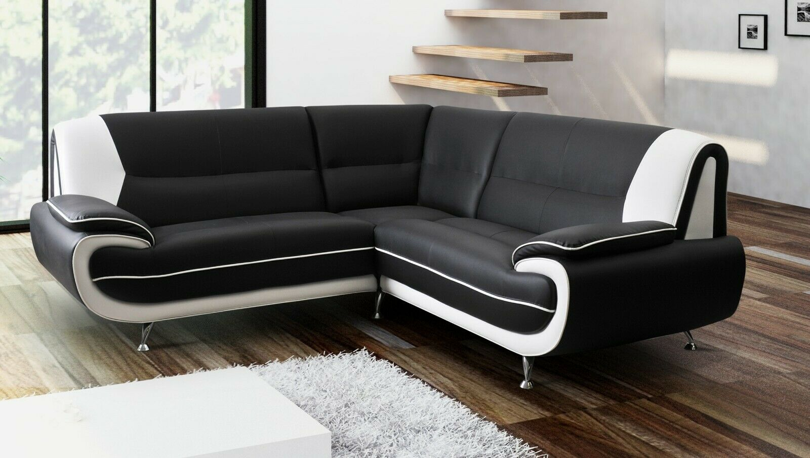 Tremendous 3 2 Seater Corner Sofa Black White Faux Leather Retro Dailytribune Chair Design For Home Dailytribuneorg