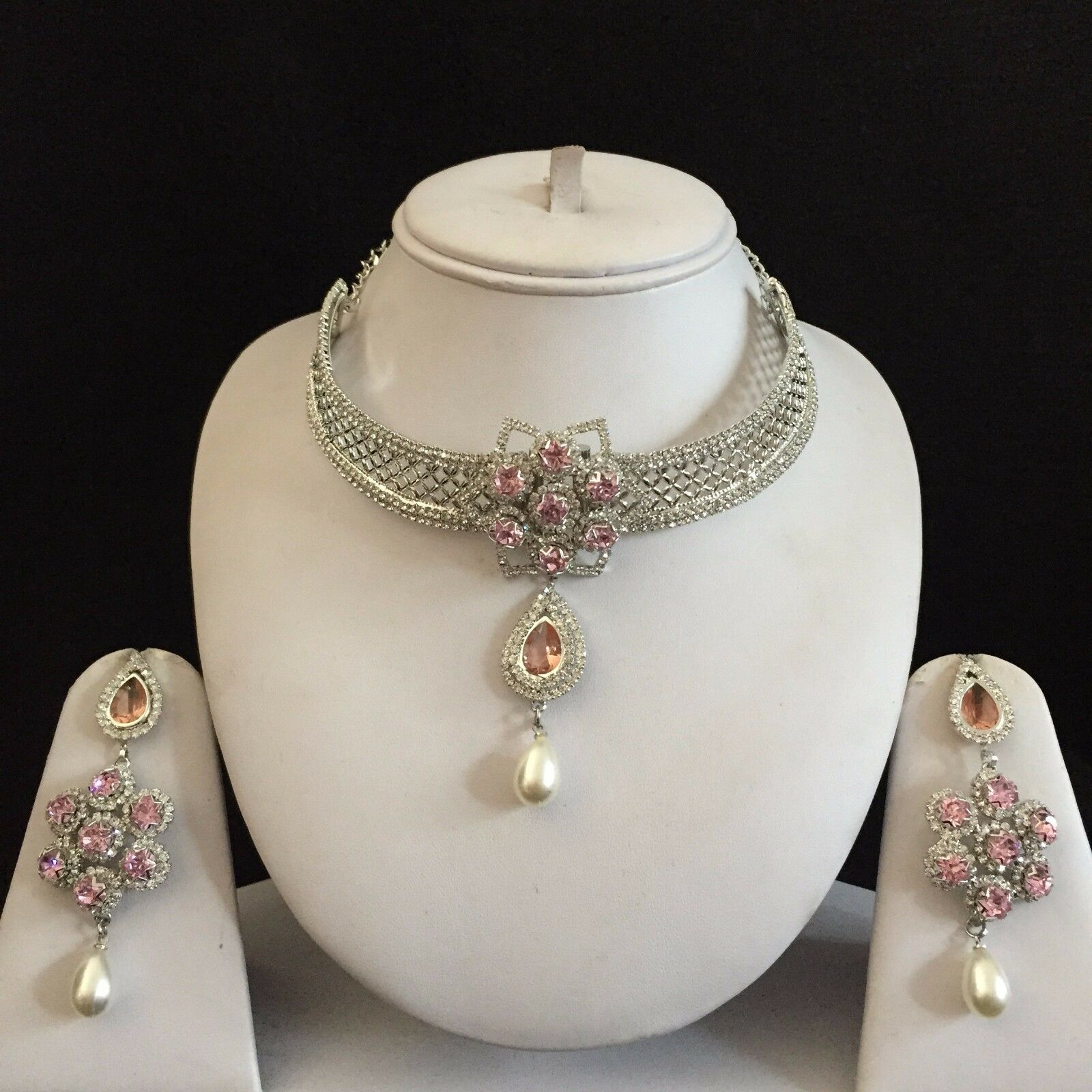 Silver Clear Indian Costume Jewellery Necklace Earrings: PINK SILVER INDIAN Vintage Costume Jewellery Necklace