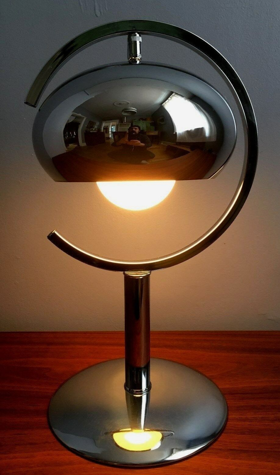 nice vtg 1960s 70s mid century modern chrome space age sputnik atomic table lamp cad. Black Bedroom Furniture Sets. Home Design Ideas