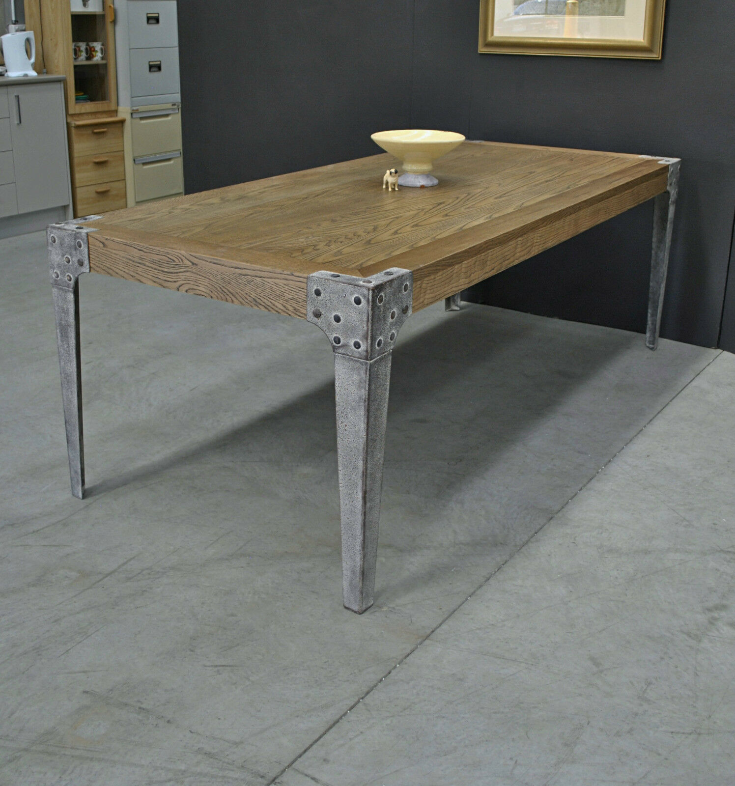 Large rustic modern industrial oak refectory dining table for Rustic iron table legs