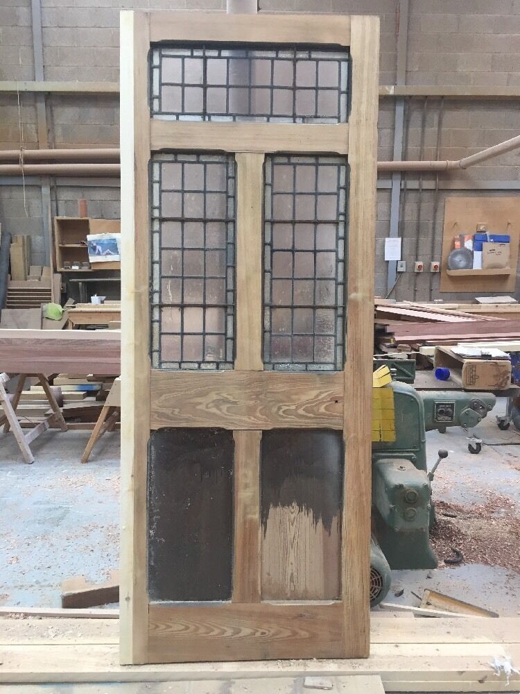 Very Large Stained Glass Front Door Reclaimed Old Antique Period