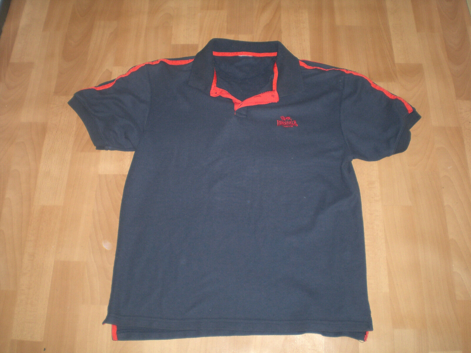 lonsdale mens polo t shirt navy blue red size xl. Black Bedroom Furniture Sets. Home Design Ideas