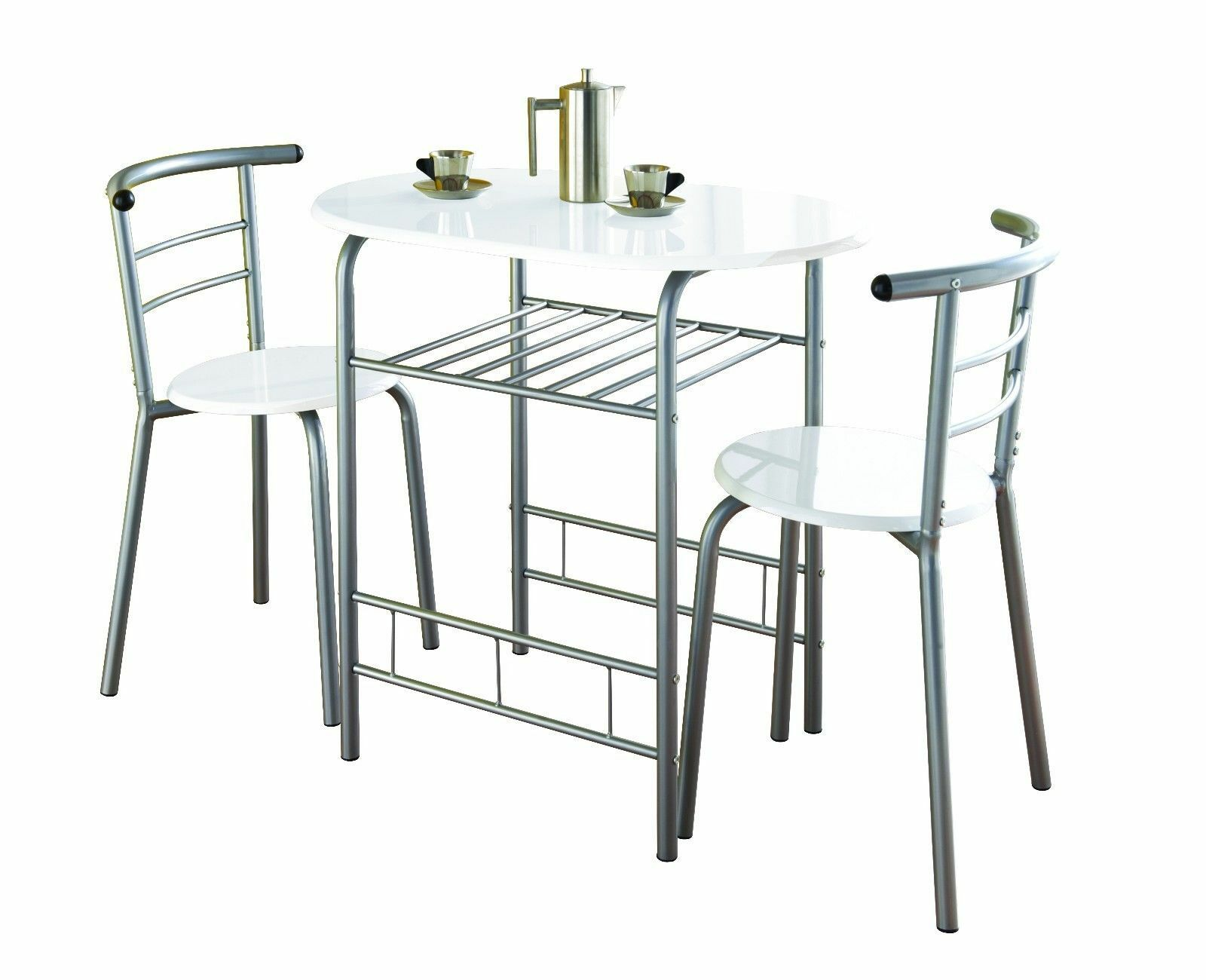 Modern white high gloss dining table and 2 chairs set for Modern high dining table