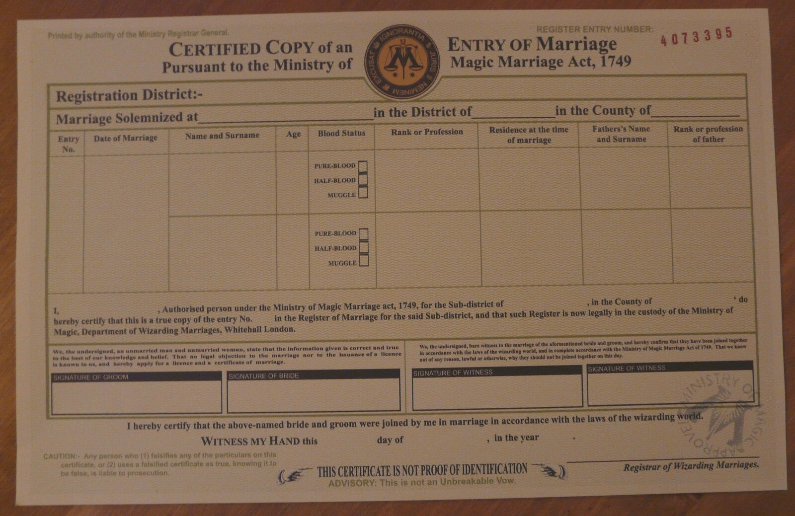 Harry potter marriage certificate ministry of magic o 450 picclick uk for Harry potter certificate
