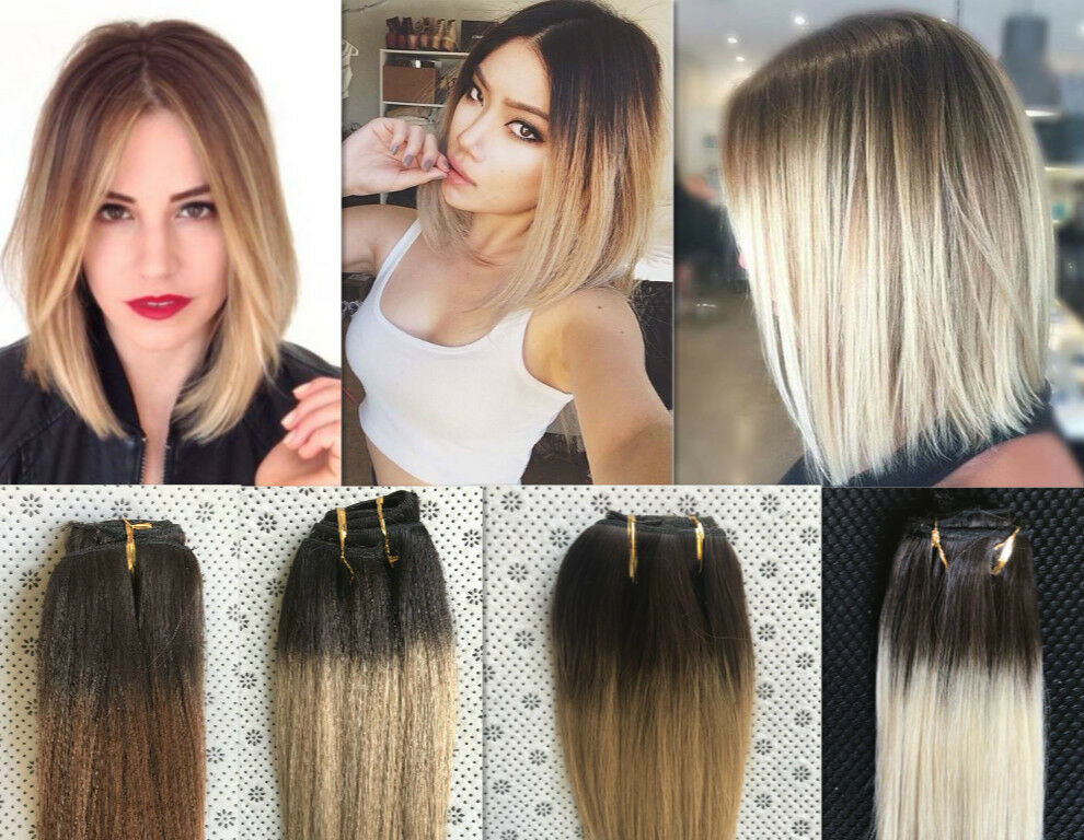 Full Head Real Clip In Human Hair Extensions Ombre Hairpieces Brown