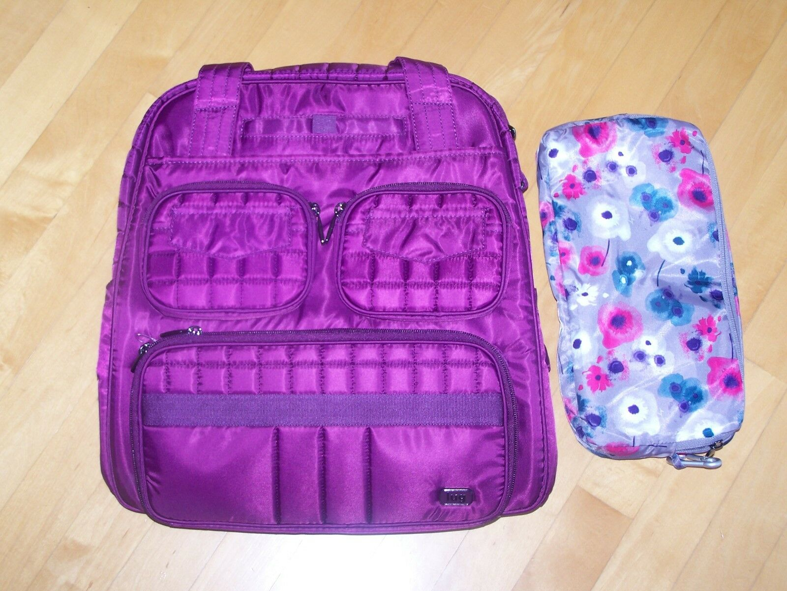 LUG Berry/Floral Puddle Jumper Travel Bag with Packable Carry-All NEW NWT