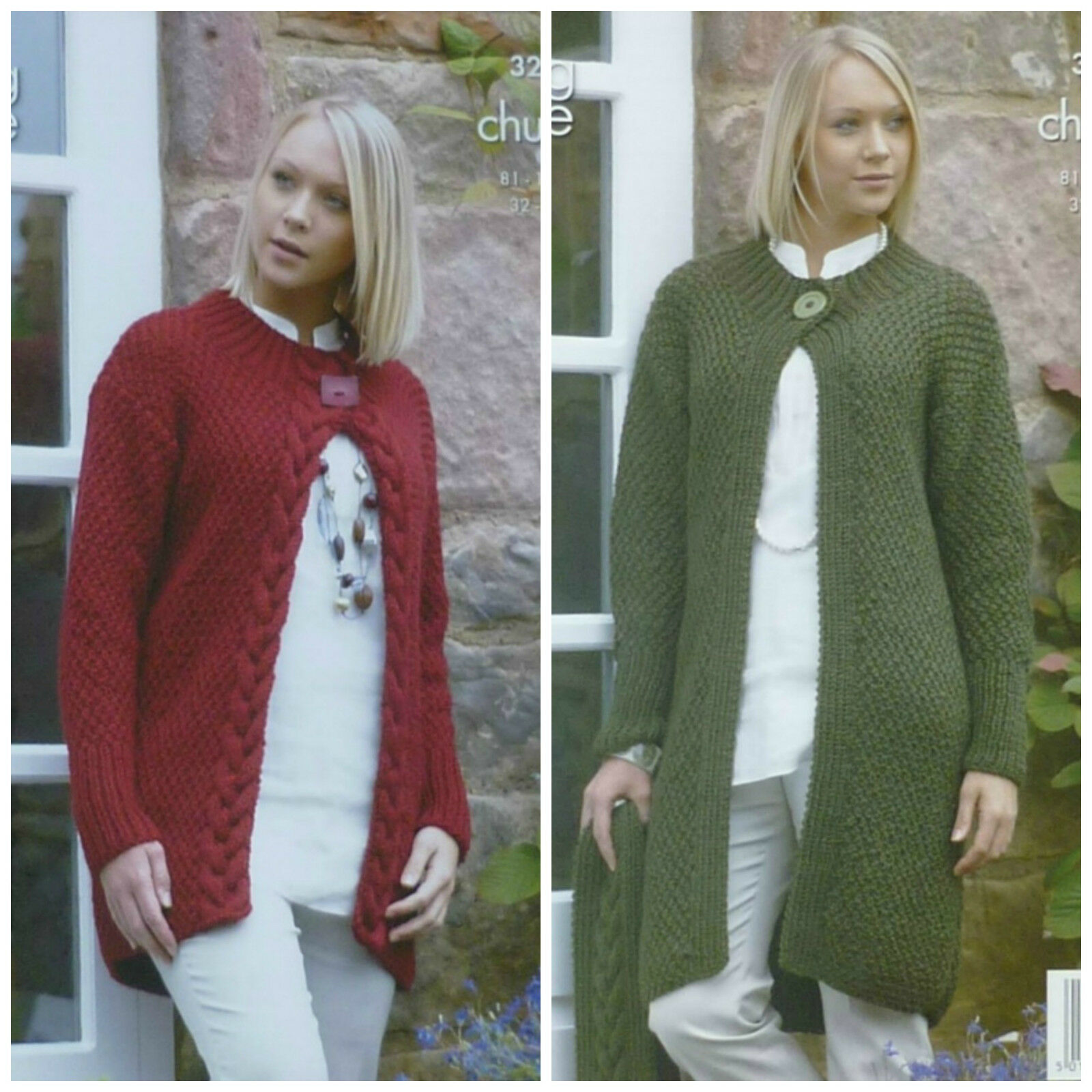 KNITTING PATTERN Ladies Moss Stitch Cable Cardigan & Coat Chunky King Col...