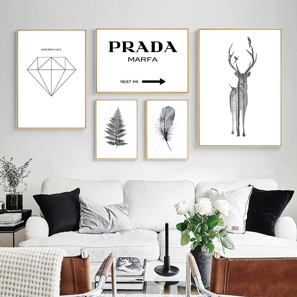 deer feather leaves canvas poster nordic decoration
