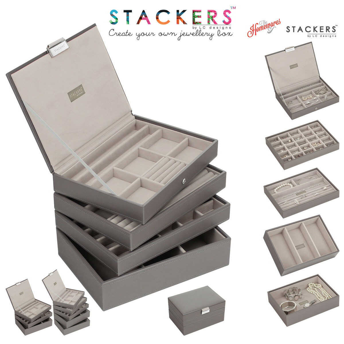 Stackers classic size jewellery boxes trays in mink with for Stackers jewelry box canada