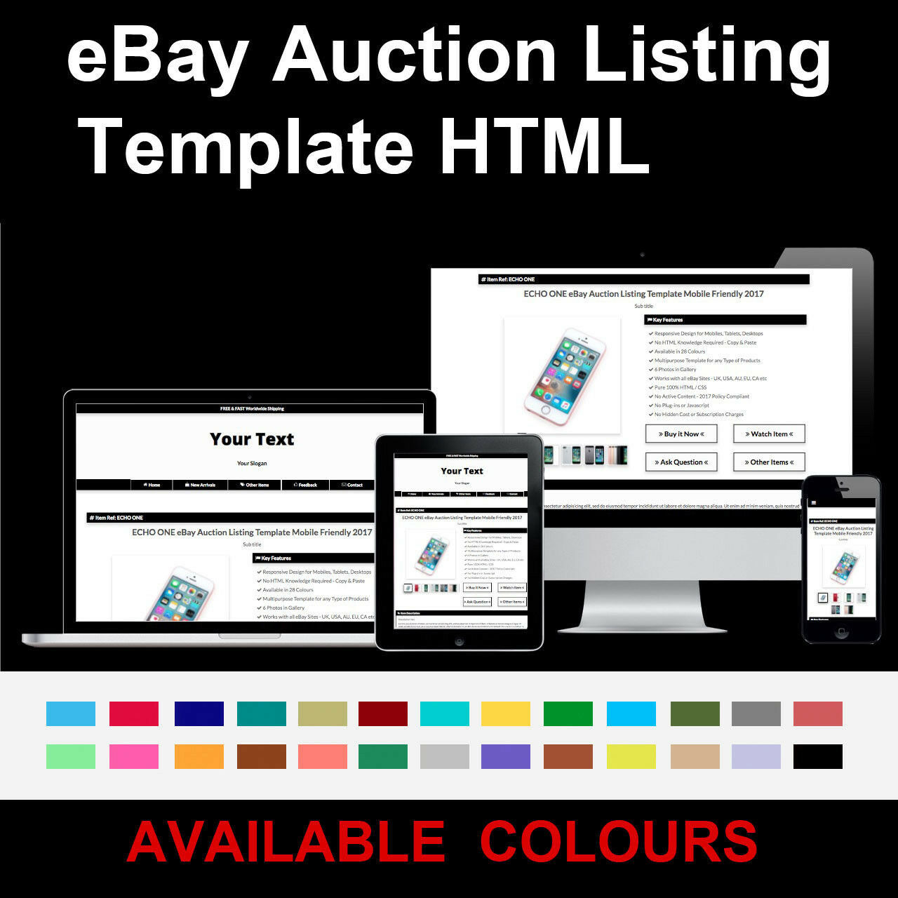 BLACK EBAY AUCTION Listing Template Responsive Image Gallery - Ebay item template