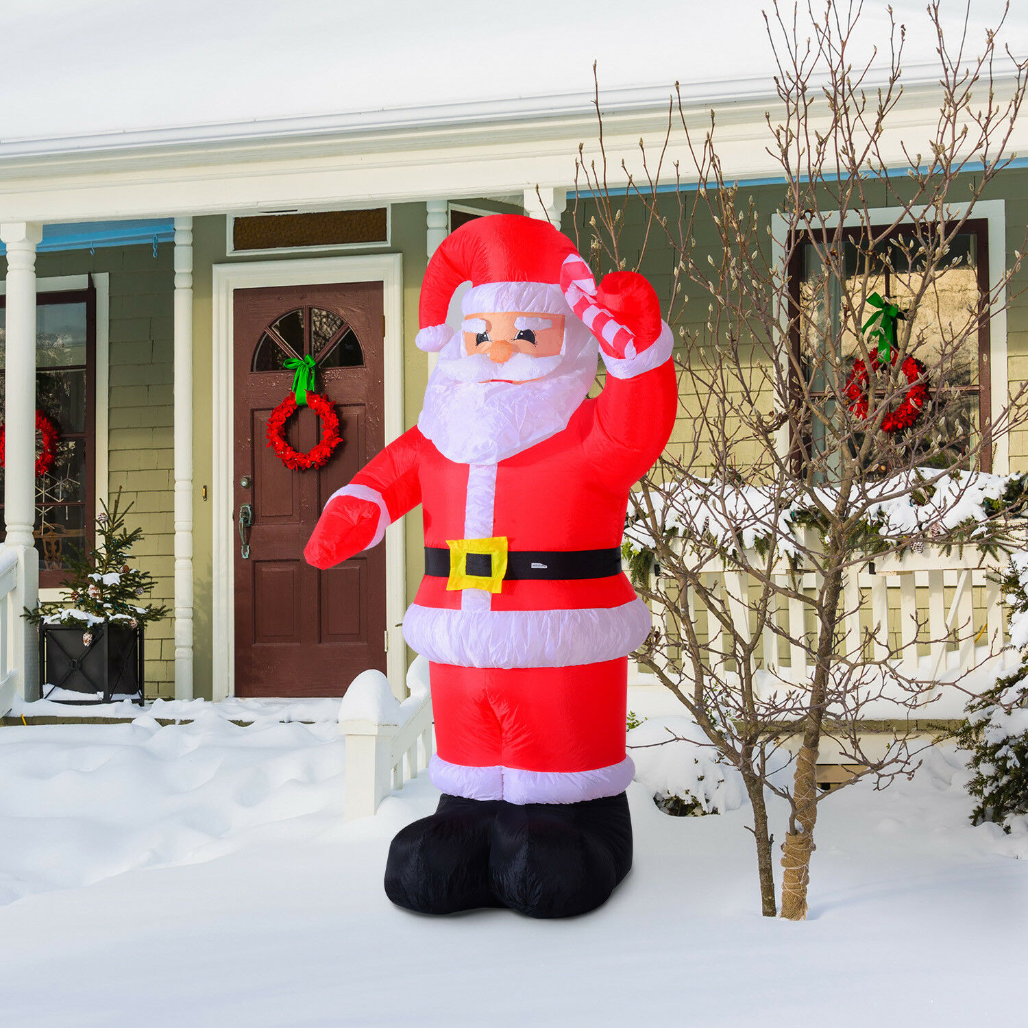 Homcom inflatable christmas santa claus air blown for Decoration exterieur pour noel